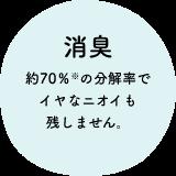 消臭 ニオイ成分の分解率が、市販の合成洗剤の約10倍(※1)です。