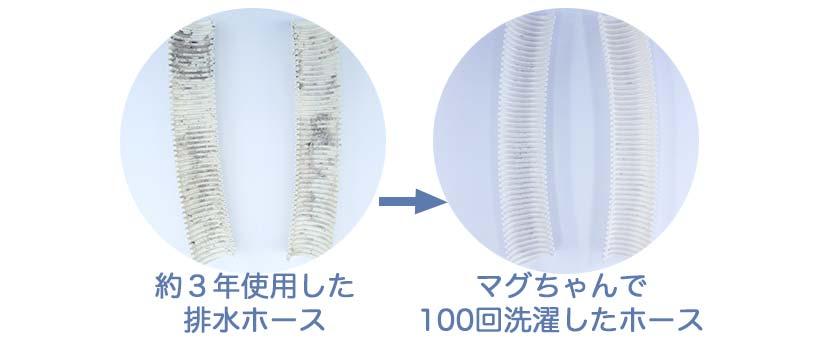 3年使用した排水ホースとマグちゃんで100回洗濯した後のホースの比較でホースの汚れがきれいになった